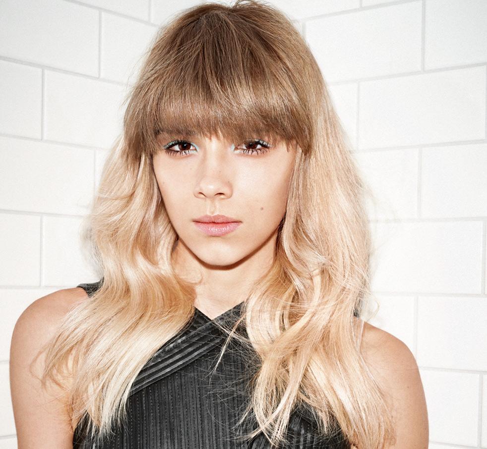 Long Hair Blonde White Tiles